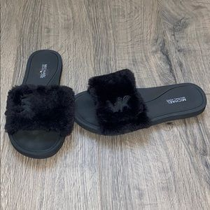 Michael Kors Fuzzy Slides